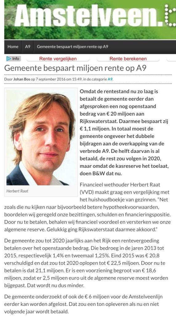2016-7-9 Amstelveen Blog.nl; Herbert Raat over eerder betalen A9