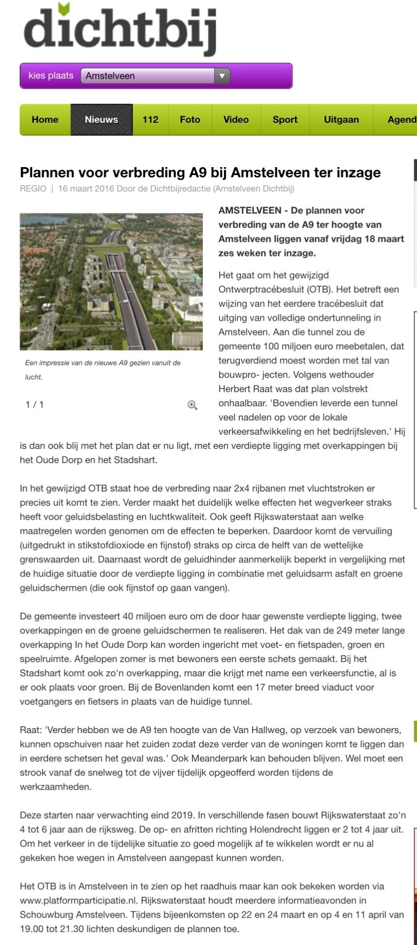 2016-16-3 AmstelveenDichtbij; Herbert Raat over plannen voor A9 ter inzage