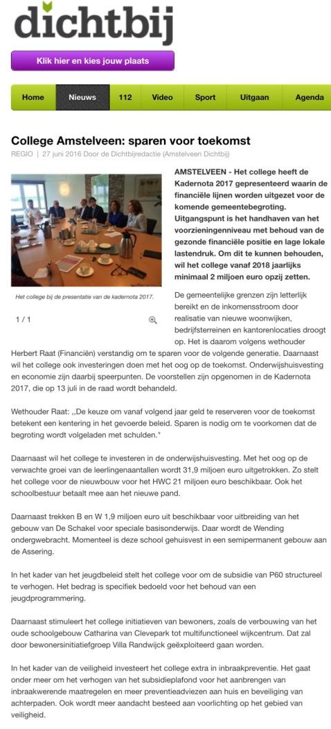 2016-mei AmstelveenDichtbij; Herbert Raat over kadernota Amstelveen