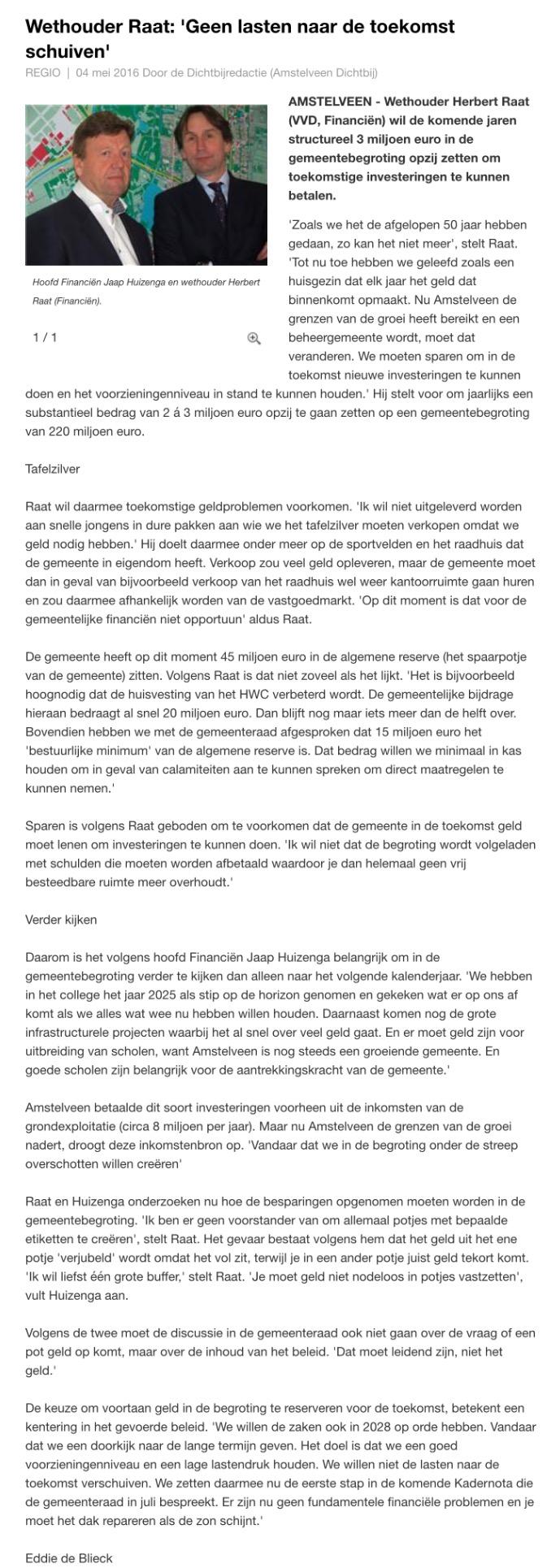 2016-4 mei interview AmstelveenDichtbij met wethouder Herbert Raat en Jaap Huizenga over financiën
