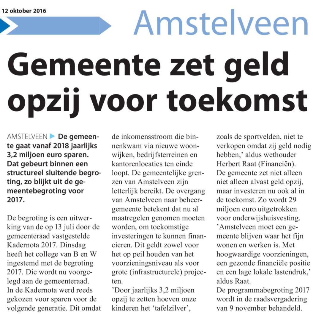2016-12-10 Amstelveens Nieuwsblad over begroting Amstelveen 2017