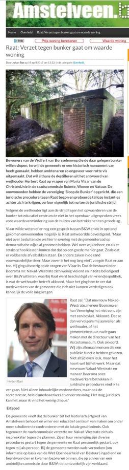 2017-19-4 AmstelveenBlog.nl over tegenstand van Nakad Westate en Eddy Boorsma tegen bunker vanwege waarde huis.1