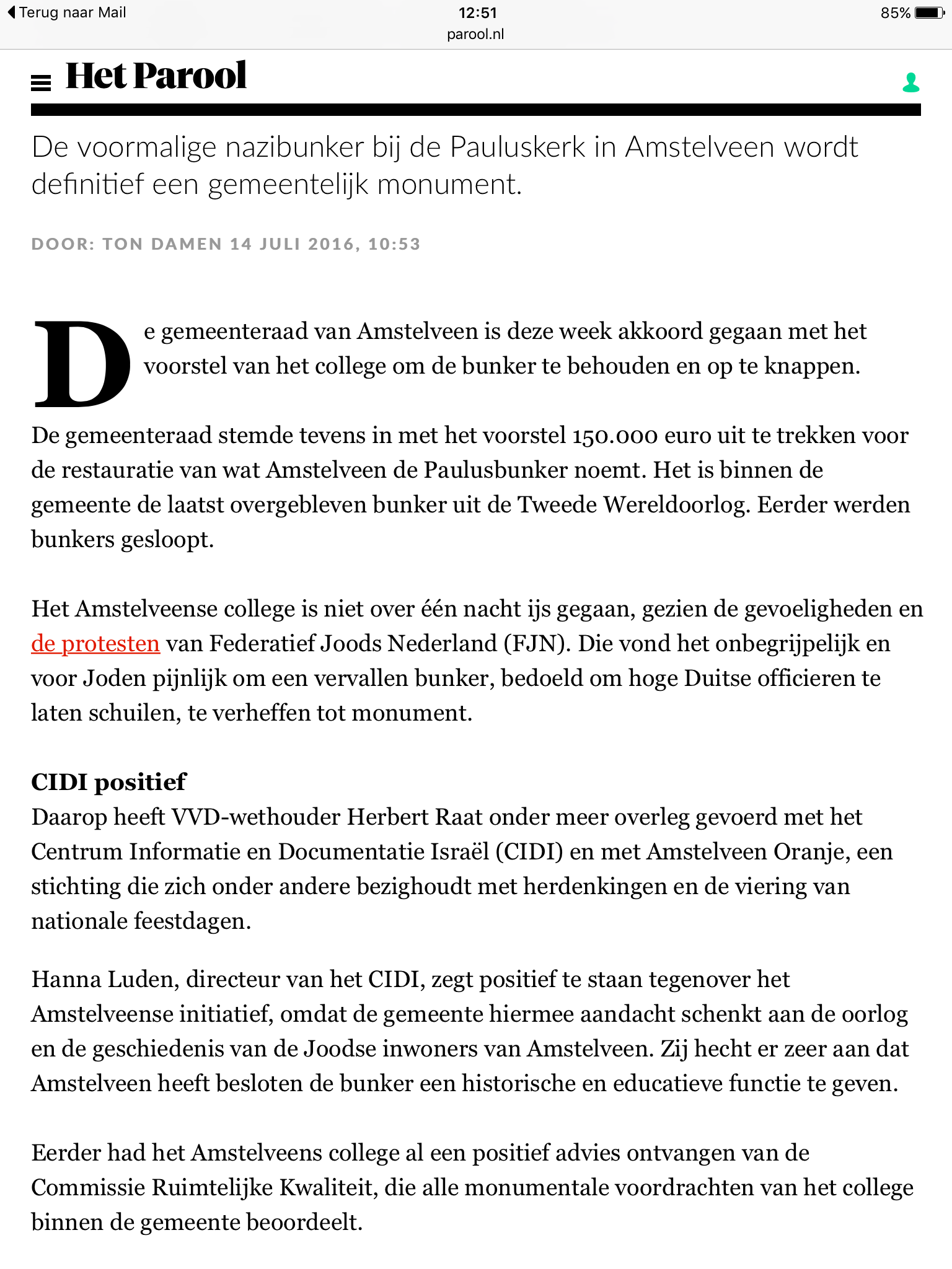 201614 juli Het Parool over bunker in Amstelveen