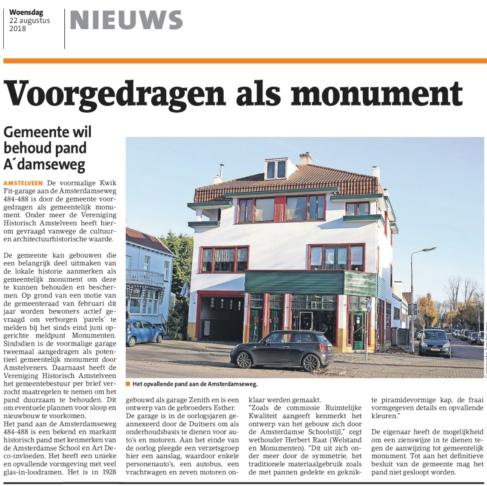 2018-22-8 Amstelveens Nieuwsblad over Amsterdamseweg 484