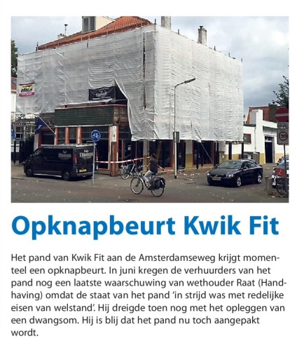 2016-7-9 Amstelveens Nieuwsblad over opknapbeurt Kwikfitgarage Amsterdamseweg 484-488