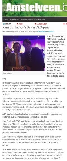 2016-Amstelveen.Blog.nl; Herbert Raat over komst Hudson's Bay