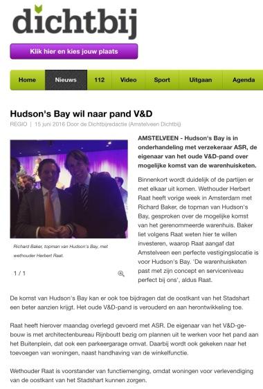 2016-15 juni AmstelveenDichtbij; Herbert Raat over komst Hudson's Bay