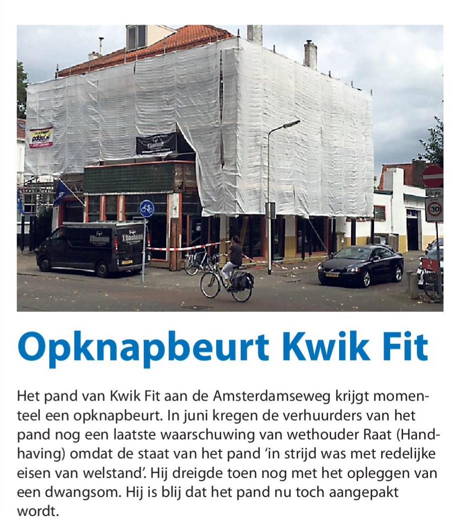 2016-7-9 Amstelveens Nieuwsblad over Kwikfit pand