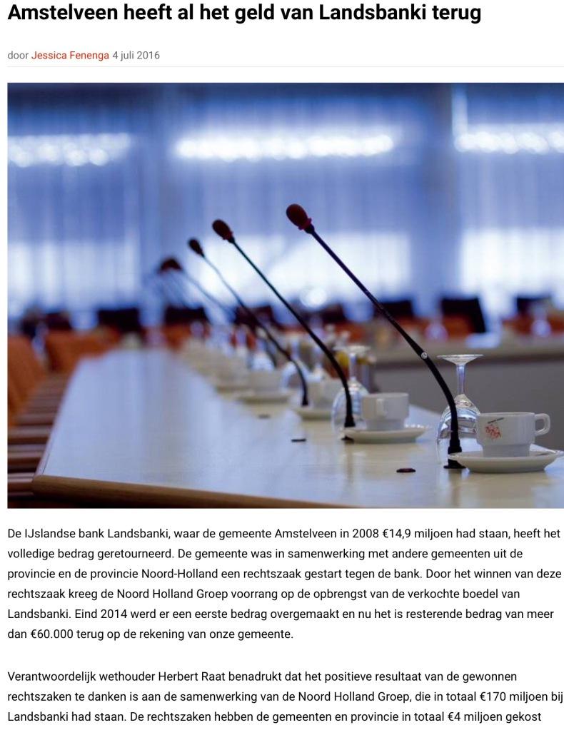 2016-Rtv-Amstelveen Landsbanki; wethouder Herbert Raat VVd
