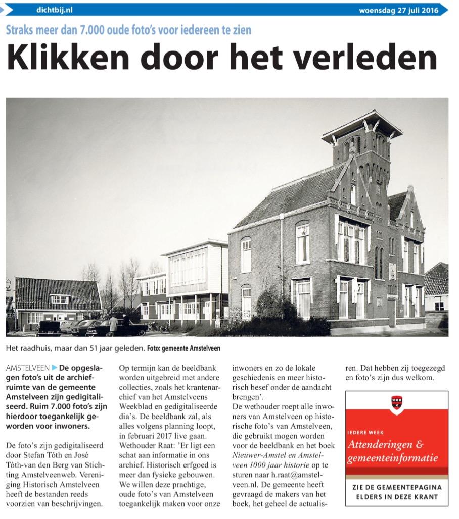 2016-Voorpagina AmstelveenDichtbij; wethouder Herbert Raat over Amstelveense historie