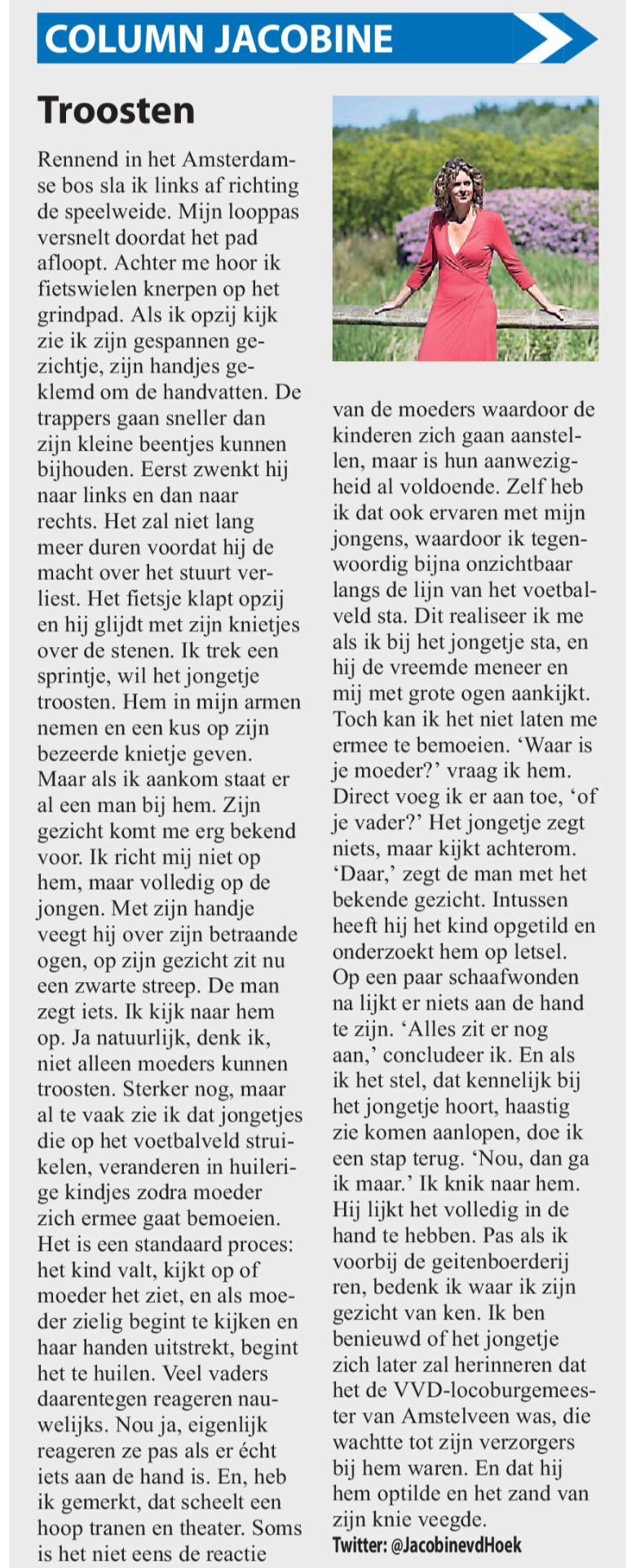 2016-13 juli column Jacobine van den Hoek over loco-burgemeester Herbert Raat in het Amstelveens Nieuwsblad