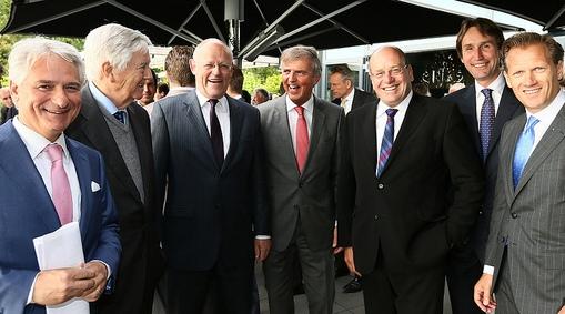 2013-ondernemersdiner-Claudio Mancinelli, Frits Bolkestein, Uri Rosenthal, Loek Hermans Fred Teeven Herbert Raat Kees Noomen