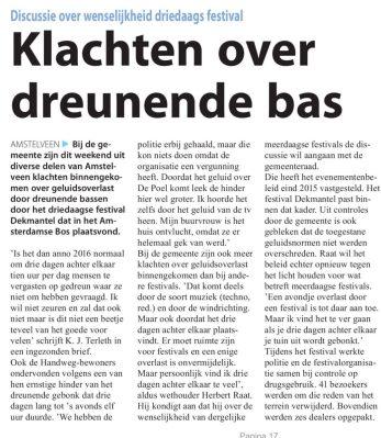 2016-brievenrubriek Amstelveens Nieuwsblad over dekmantel