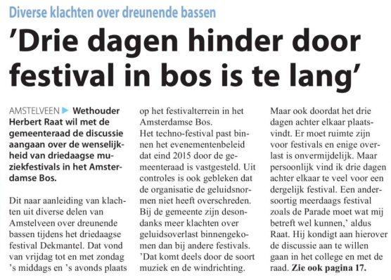 2016-10-8 Voorpagina Amstelveens Nieuwsblad; Herbert Raat over Dekmantel