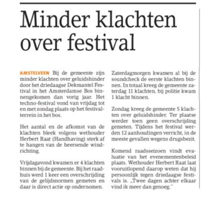 2017-9-8 Amstelveens Nieuwsblad over klachten dekmante