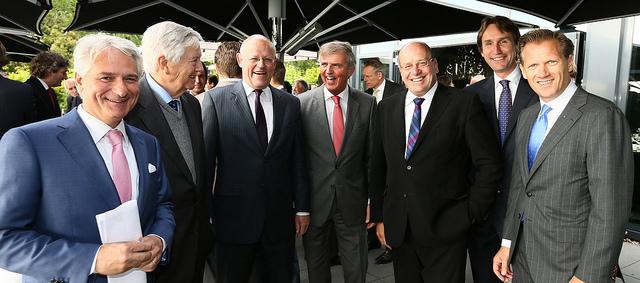 2013-ondernemersdiner-Claudio Mancinelli, Frits Bolkestein Loek Hermans Fred Teeven Herbert Raat en Kees Noomen