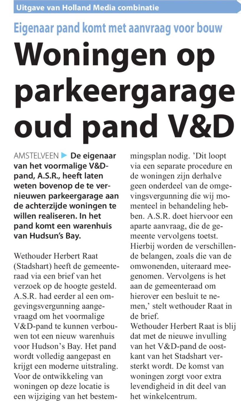 2016-26-6 voorpagina Amstelveens Nieuwsblad; Wethouder Herbert Raat over woningen op garage V&D