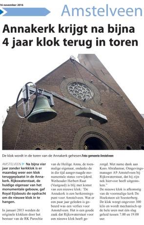 2016-16-11 Amstelveens Nieuwsblad Klok terug in de Annakerk