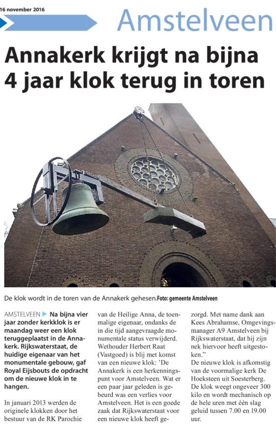 2016-16-11 Amstelveens Nieuwsblad; wethouder Herbert Raat over klok terug in de Annakerk