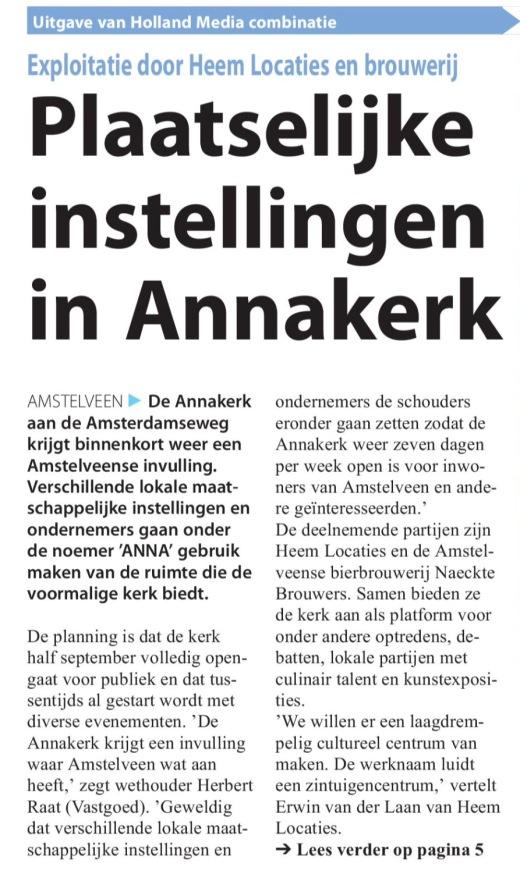 2017-5-4 Amstelveens Nieuwsblad; Herbert Raat over Lokale invulling Annakerk Amstelveen