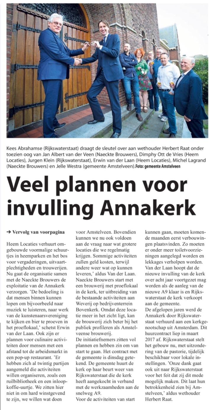 2017-5-4 Amstelveens Nieuwsblad Lokale invulling Annakerk Amstelveen