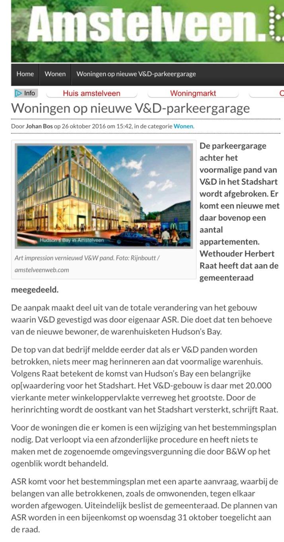 2016-26-6 AmstelveenBlog; Herbert Raat over woningen op garage V&D