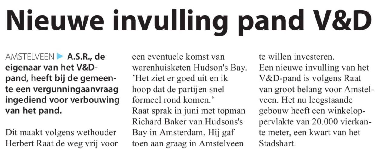 2016-28-9 Amstelveens Nieuwsblad; wethouder Herbert Raat over Hudsons's Bay in Amstelveen