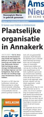 2016-21-9 Amstelveens Nieuwsblad; Herbert Raat over invulling Annakerk pagina 1