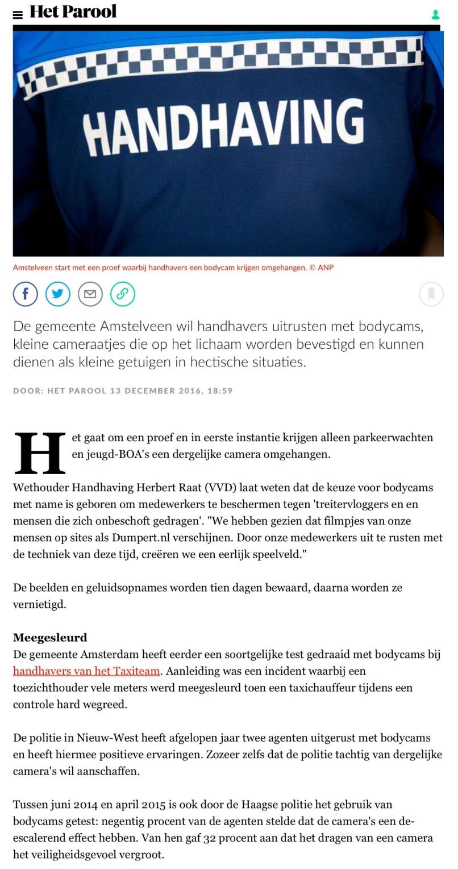 2016-13-12 Het Parool; wethouder Herbert Raat over bodycams handhavers Amstelveen