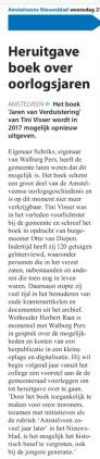 2016-21-12 Amstelveens Nieuwsblad; Herbert Raat over heruitgave boek Tiny Visser