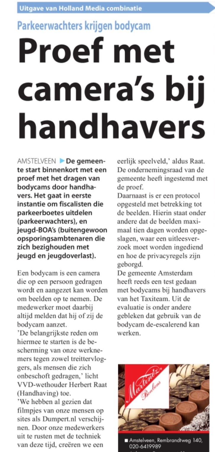 2016-14-12 Amstelveens Nieuwsblad; wethouder Herbert Raat over bodycams handhavers