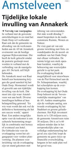 2017-22-2 Amstelveens Nieuwsblad Herbert Raat over invulling ANNAkerk en overkapping A9 Oude Dorp