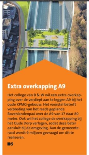 7-21-6 Amstelveens Nieuwsblad over extra overkapping bij Meander A9 Amstelveen