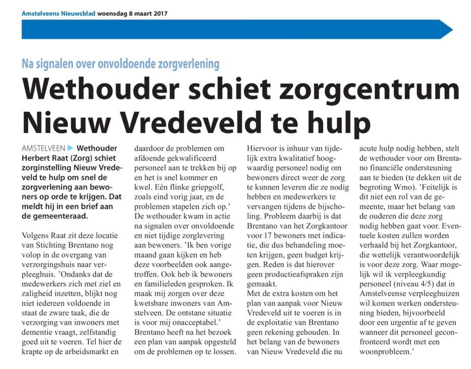 2017-8-3 Amstelveens Nieuwsblad; wethouder Herbert Raat over de situatie in Nieuw Vredeveld