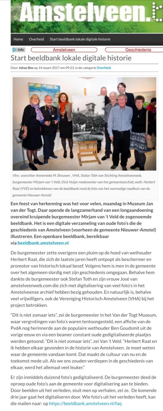 2017-15-3 AmstelveenBlog.nl over beeldbank Mirjam van 't Veld, Herbert Raat, Stefan Toth, Dick Huijer Vele Handen