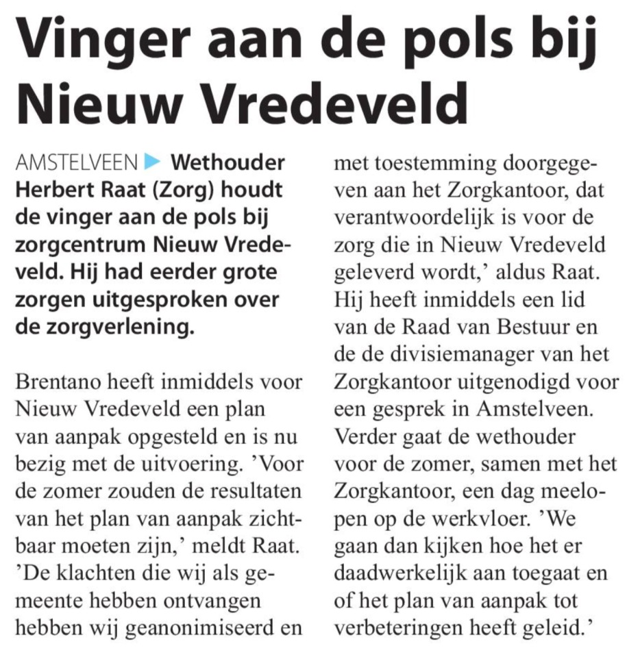 2017-10-5 Amstelveens Nieuwsblad; Herbert Raat over situatie Nieuw Vredeveld