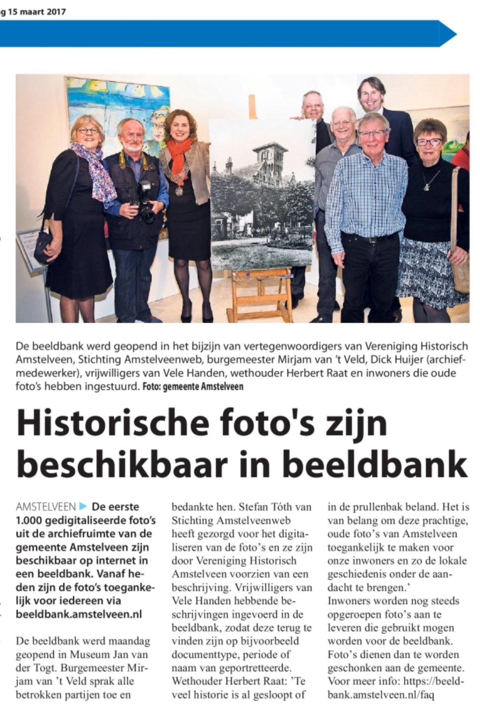 2017-15-3 Amstelveens Nieuwsblad over beeldbank Mirjam van 't Veld, Herbert Raat, Stefan Toth, Dick Huijer Vele Handen