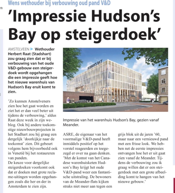 2017-29-3 Amstelveens Nieuwsblad; Herbert Raat over Hudson's Bay Amstelveen
