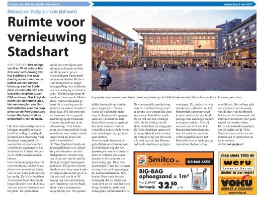 2017-3-5 Amstelveens Nieuwsblad; Herbert Raat over plannen stadshart Amstelveen voorpagina