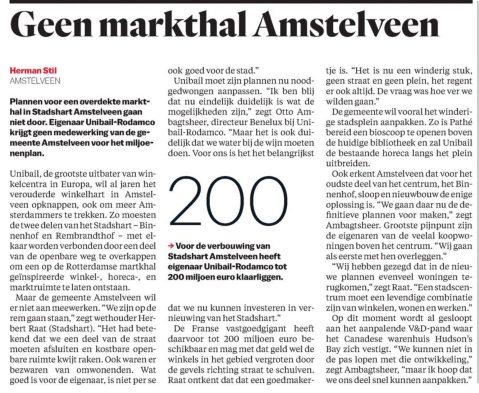 2017-4-5 Het Parool; Herbert Raat over plannen Stadshart Amstelveen