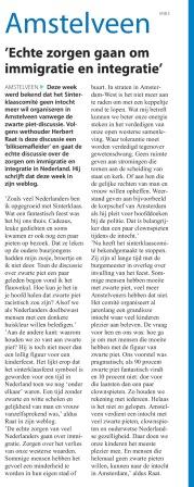 2017-24-5 Amstelveens Nieuwsblad; Herbert Raat over zwarte piet en integratie in Amstelveen
