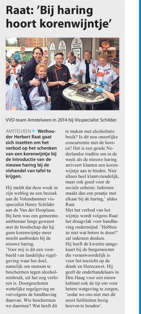 2017-7-6 Het Amstelveens Nieuwsblad over verbod korenwijn bij haring