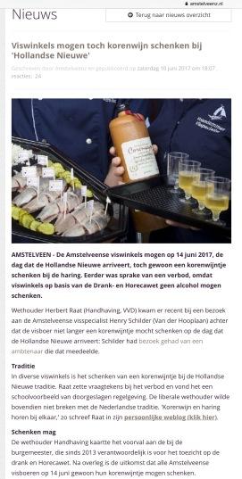 2017-10-6 Amstelveenz; Herbert Raat: korenwijntje mag geschonken worden in Amstelveen