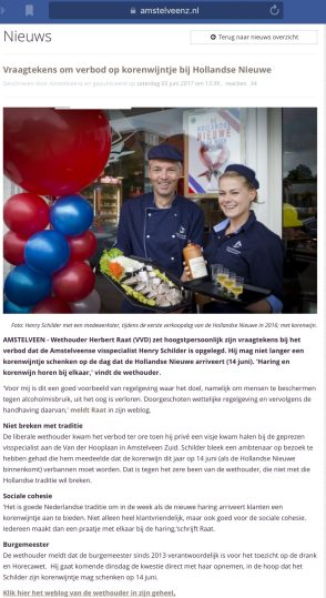 2017-3-6 Amstelveenz; Herbert Raat over verbod korenwijn bij haring