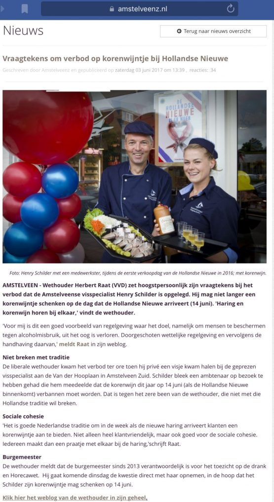 2017-3-6 Amstelveenz over verbod korenwijn bij haring