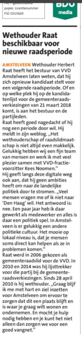 2017-5-7 Amstelveeens Nieuwsblad Herbert Raat beschikbaar als lijsttrekker