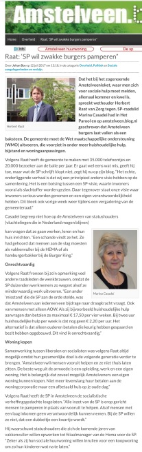 2017-12-7 AmstelveenBlog.nl; Herbert Raat over WMO SP