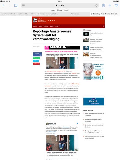 2018-20-2 RTV Amstelveen; Herbert Raat over ontevreden Syrier
