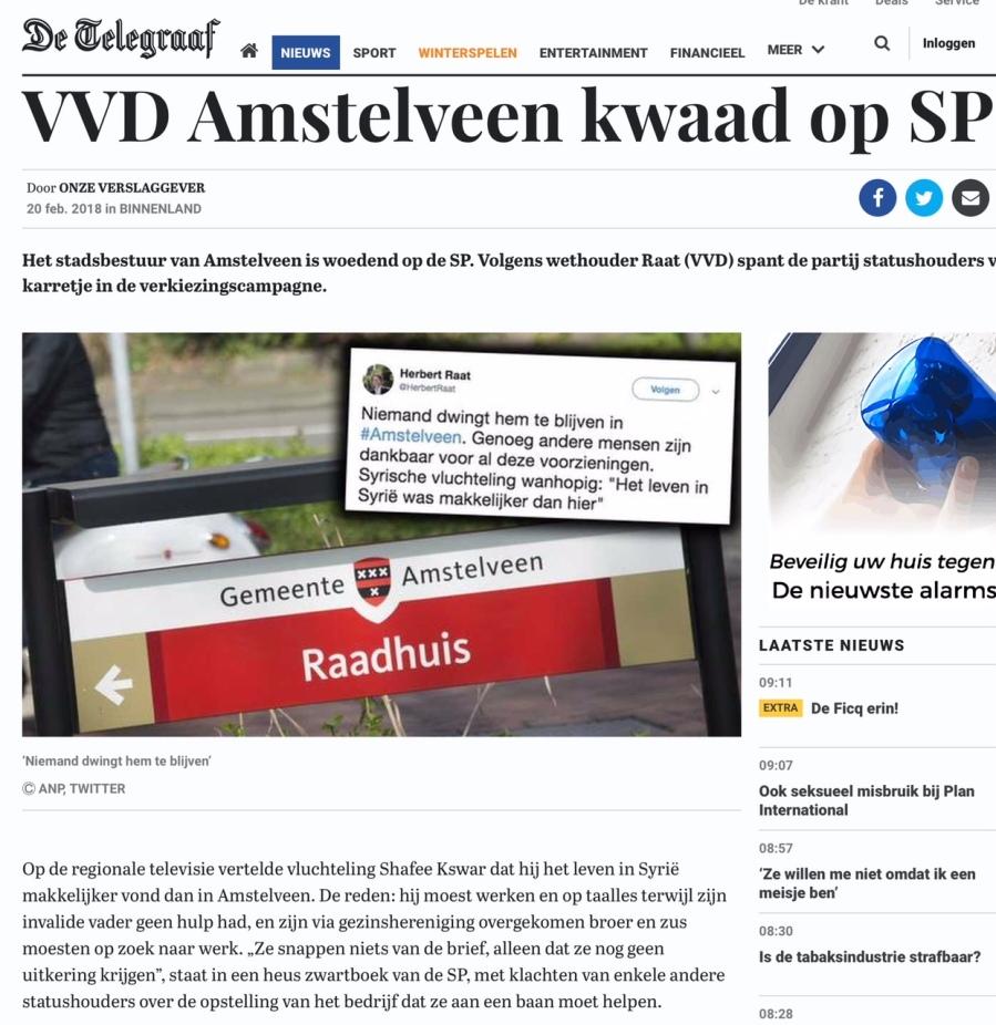 2018-20-2 De Telegraaf; VVD wethouder Herbert Raat over ontevreden Amstelveense Syrier 1 van 2