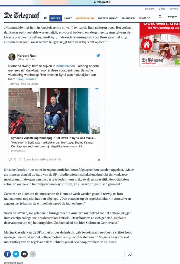 2018-20-2 De Telegraaf; VVD wethouder Herbert Raat over ontevreden Amstelveense Syrier 2 van 2